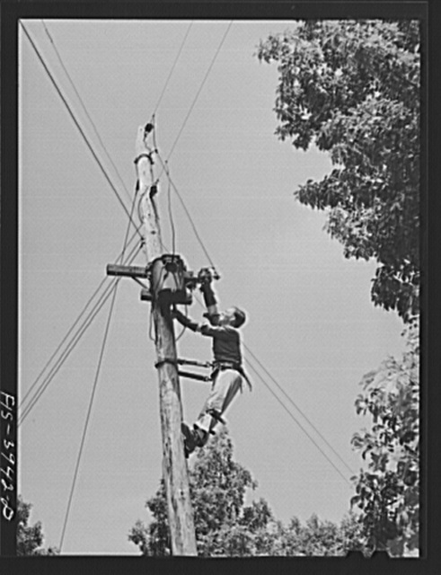 Lauderdale County, Alabama. Tennessee Valley Authority (TVA). Julien H. Case fixing the transformer on his farm