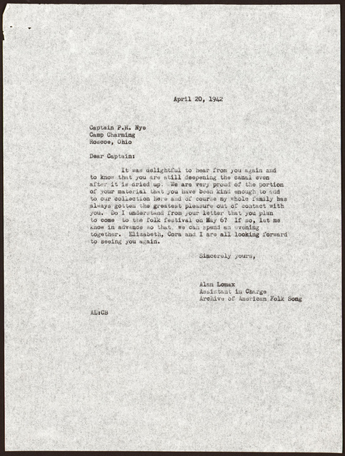 Letter from Alan Lomax to Pearl R. Nye, April 20, 1942