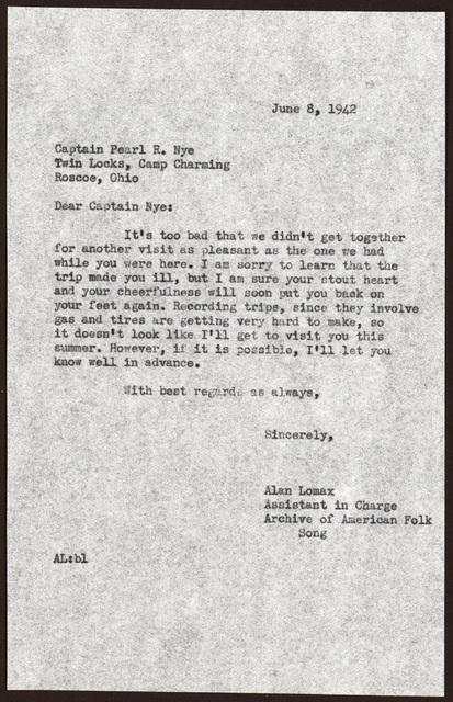 Letter from Alan Lomax to Pearl R. Nye, June 8, 1942