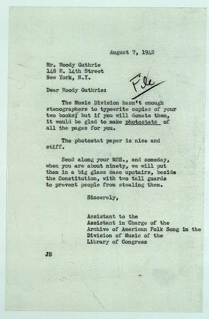 Letter from Alan Lomax to Woody Guthrie, August 7, 1942