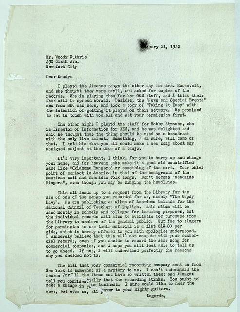 Letter from Alan Lomax to Woody Guthrie, January 21, 1942