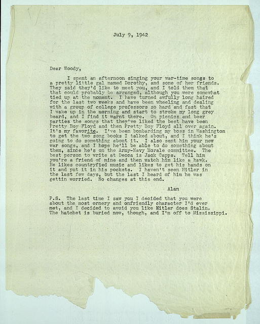 Letter from Alan Lomax to Woody Guthrie, July 9, 1942