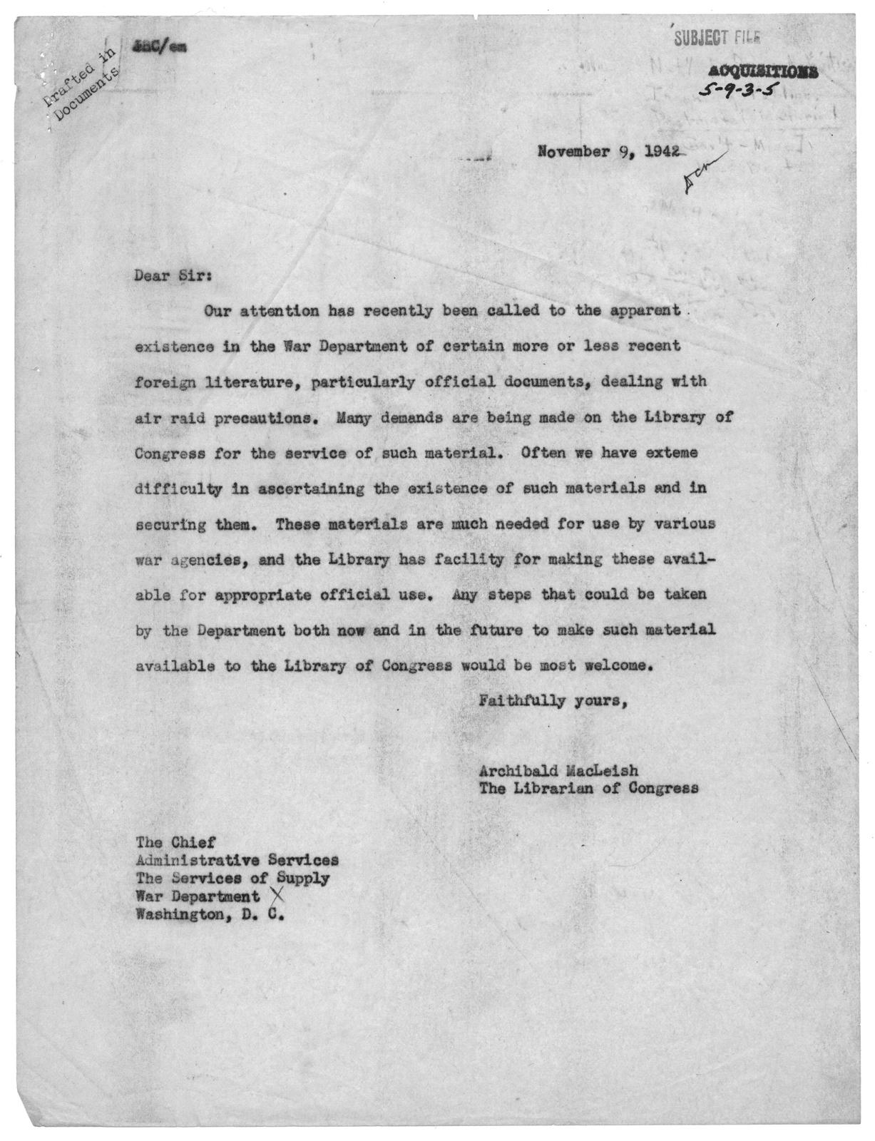 Letter from Archibald MacLeish, November 9, 1942
