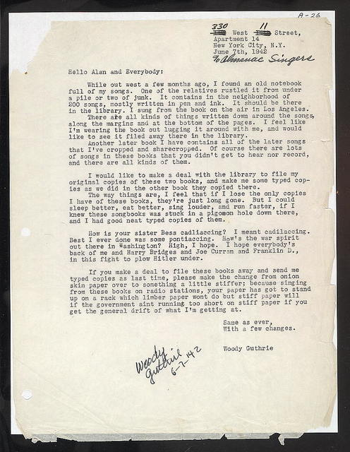 Letter from Woody Guthrie to Alan Lomax, June 7, 1942