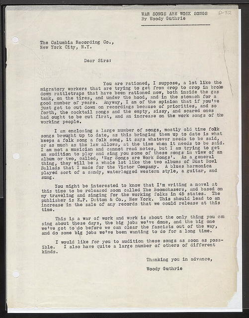 Letter from Woody Guthrie to Columbia, ca. June 17, 1942