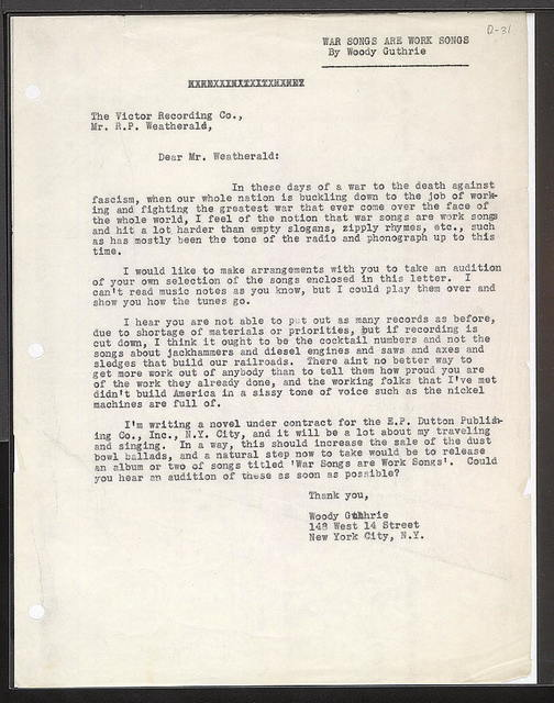 Letter from Woody Guthrie to Victor, ca. June 17, 1942
