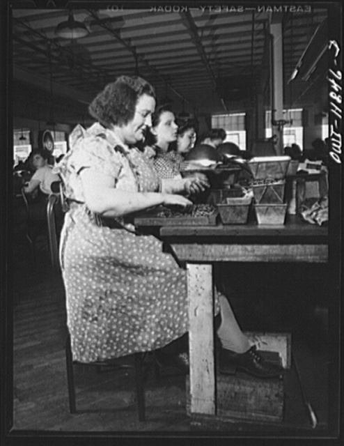 Lititz, Pennsylvania. Elizabeth Almoney who works as a gauge tester at the Animal Trap Company