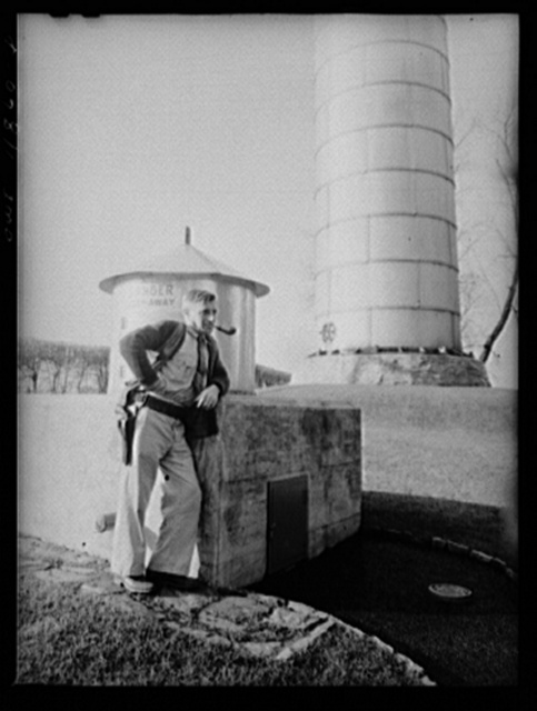 Lititz, Pennsylvania. Ralph Miller has guarded the Lititz waterworks for sixteen years, and has only recently carried a gun; this practice was voted as a defense measure by the city council