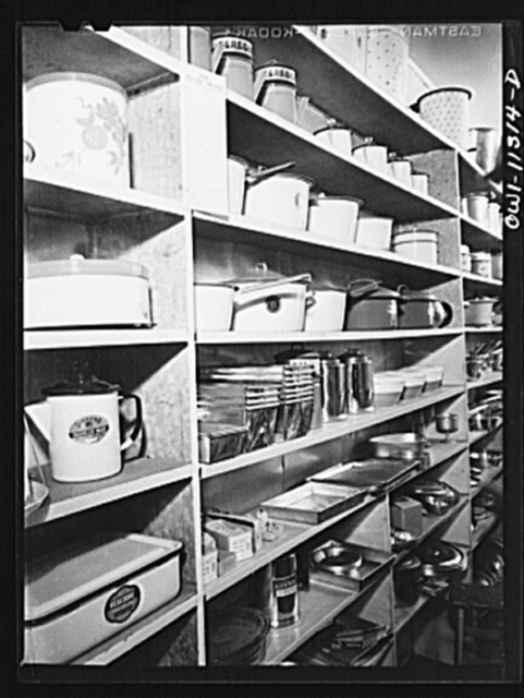 Lititz, Pennsylvania. These are the last aluminum and enamel ware utensils which Morris Kreider's hardware store will be able to get for the duration of the war. Usually he keeps his storeroom as well as the shelves well stocked