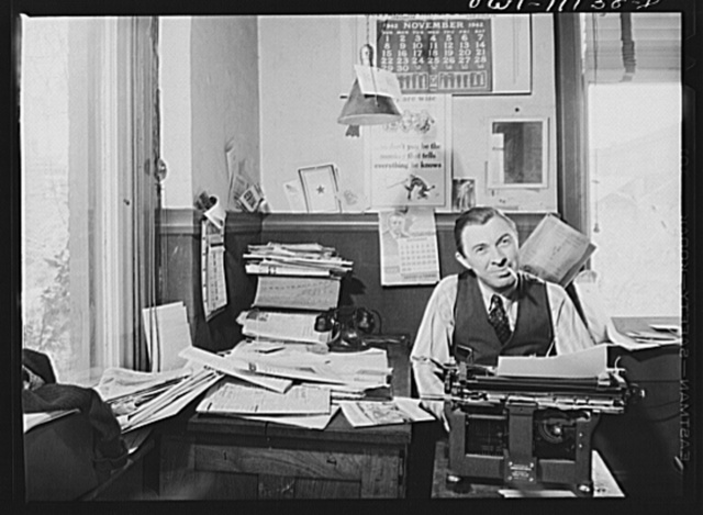 Lititz, Pennsylvania. William N. Young, publisher of the Record-express, is also its reporter and advertising man. The star shows that one of his usual four employees is already in the service. Many printers can get better wages in defense work, and the paper may fold due to lack of help and national advertising