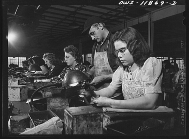 Lititz, Pennsylvania. Women gauge inspectors at the Animal Trap Company of America. The girl at the right is only sixteen and couldn't have worked until a recent law was passed