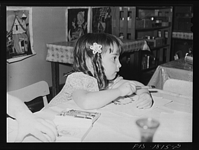 Little girl of Portuguese descent in the kindergarten of the grade school in San Leandro, California