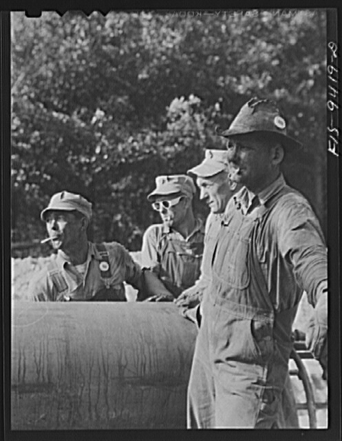 Little Rock, Arkansas to Missouri-Arkansas state line. War emergency pipeline from Longview, Texas to Norris City, Illinois. Members of the laying gang
