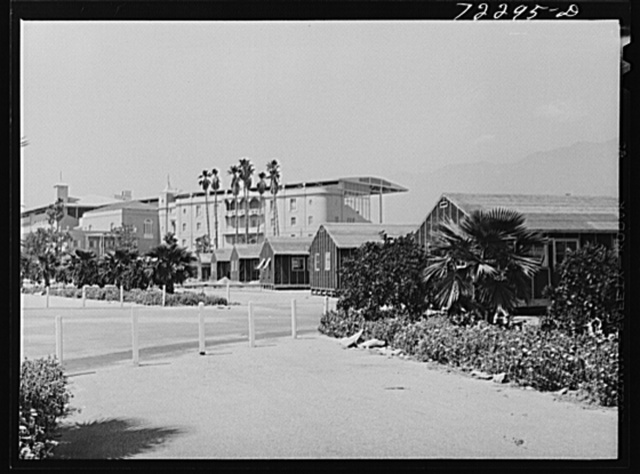 Los Angeles, California. The evacuation of Japanese and Japanese-Americans from West coast areas under United States Army war emergency order. Accommodations at the Santa Anita reception center