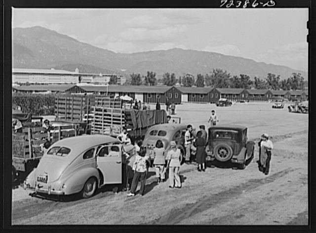 Los Angeles County, California. The evacuation of Japanese-Americans from West coast areas under United States Army war emergency order. Japanese arriving at the Santa Anita reception center