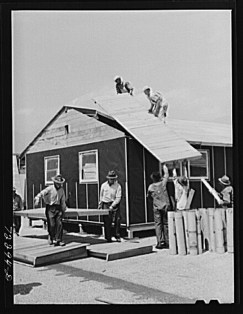 Los Angeles County, California. The evacuation of Japanese and Japanese-Americans from West coast areas under United States Army war emergency order. Construction work on accommodations at Santa Anita reception center