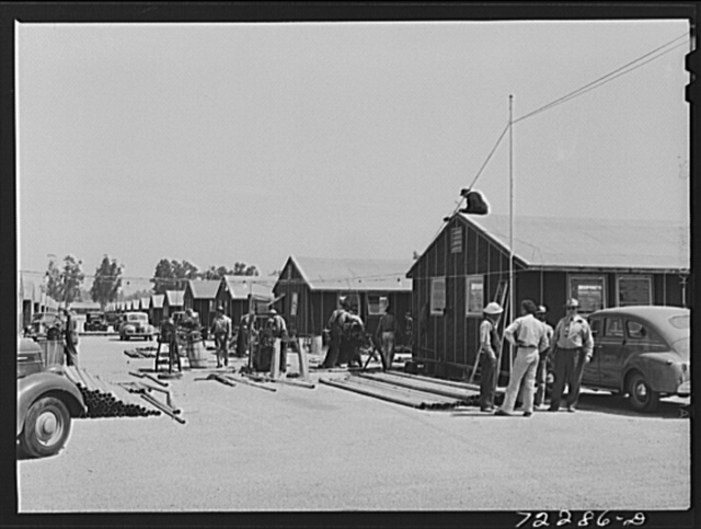 Los Angeles County, California. The evacuation of Japanese and Japanese-Americans from West coast areas, under United States Army war emergency order. Construction work on accommodations for Japanese at the Santa Anita reception center