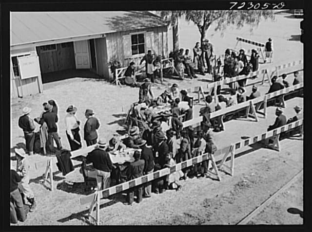 Los Angeles County, California. The evaluation of Japanese and Japanese-Americans from West coast areas under United States Army war emergency order. Japanese register as they arrive at the Santa Anita reception center