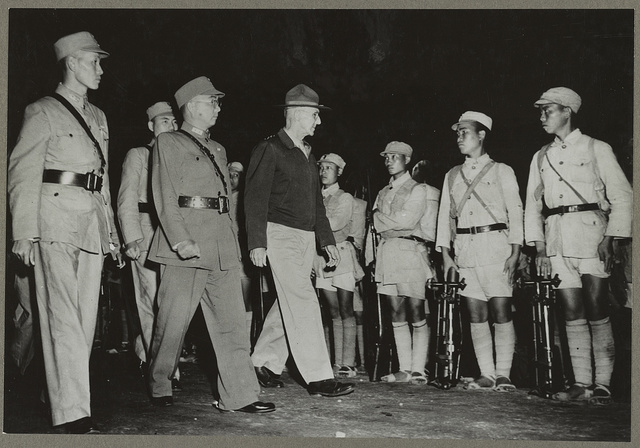 Lt. Gen. Joseph W. Stilwell inspecting Chinese troops in India He is accompanied on his right by General Sun Li Zen and Lo. The former is the commanding general and the latter deputy chief of staff of the Chinese expeditionary forces.