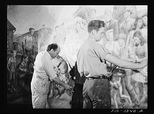 Madison, Wisconsin. John Stuart Curry and an assistant, Robert Hodgell, of Topeka, Kansas and a student at the university, working on Curry's mural in the biochemistry building at the University of Wisconsin