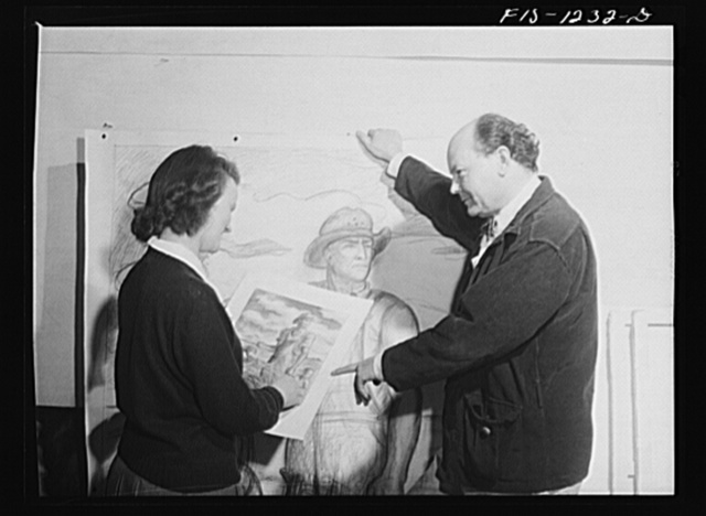 Madison, Wisconsin. One of the members of the Blue Shield Country Life Club of the University of Wisconsin, discussing a painting of a farmer with John Stuart Curry. All members of the club are young people from farms of Wisconsin, and one of their aims is to bring about greater participation in cultural activities among farm people