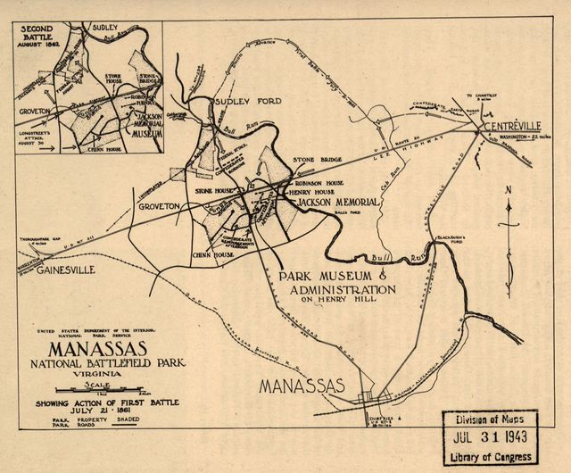 Manassas National Battlefield Park, Virginia. Showing action of first battle, July 21, 1861.