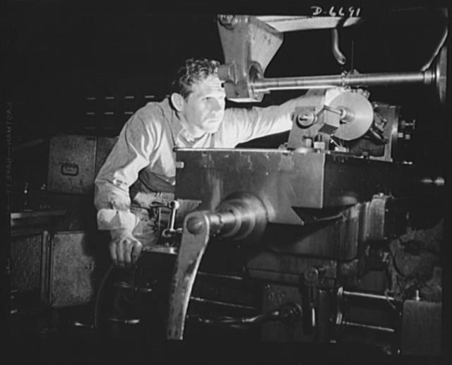 Manpower. Southern shipyard workers. A keen eye and a steady hand guide Olie R. Cawethon in hobbing gears for ships of the United Nations. Cawethon, a former diesel engineer, answered the Navy's call for skilled workers, and is today operating a milling machine in a Southern Navy yard