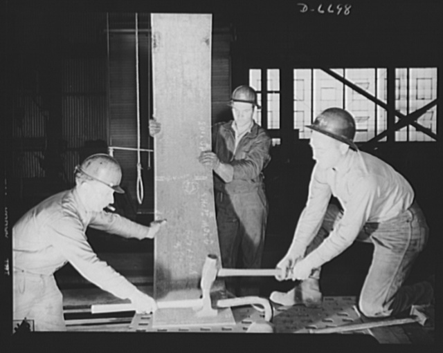 Manpower. Southern shipyard workers. New skills are developed in a Southern Navy plant where experienced workers train young men for technical work. These boys are learning to make ship parts for U.S. Navy vessels