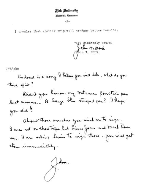 March 11, 1942, letter from John Work to Alan Lomax