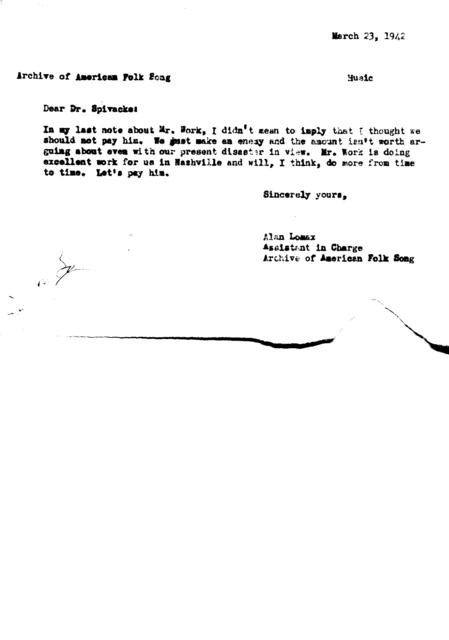 March 23, 1942, draft of memo from Alan Lomax to Dr. Spivacke