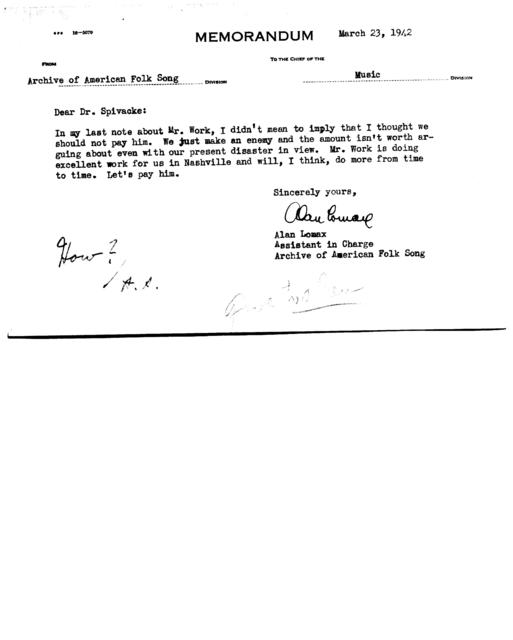 March 23, 1942, memo from Alan Lomax to Dr. Spivacke