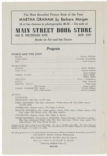[ Martha Graham and Company, Blackstone Theatre, February 15, 1942]