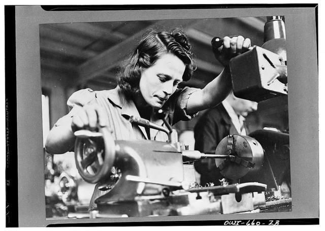 Mary Devlin, a forty-year-old Irish worker in a Bren gun plant