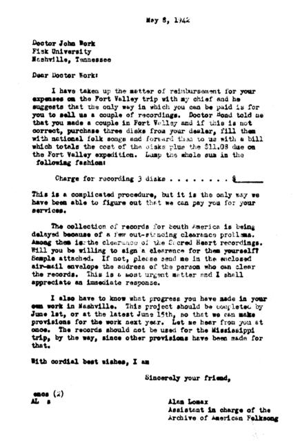 May 8, 1942, letter from Alan Lomax to John Work
