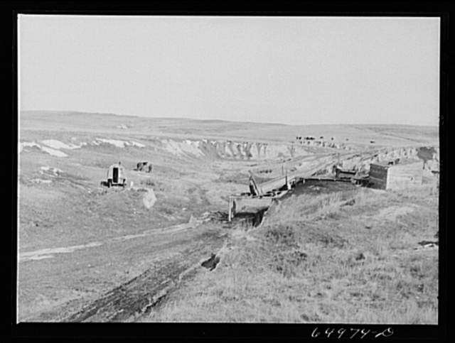McCone County, Montana. Coal mine on the edge of the badlands. The operator lives in sheep wagon