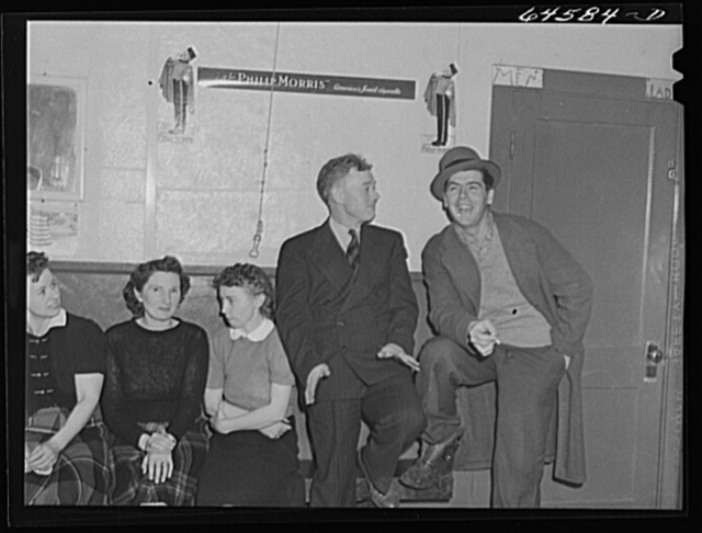 Meeker County, Minnesota. Farmers' dance in crossroads store