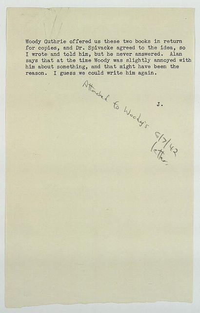 Memo, ca. Summer 1942