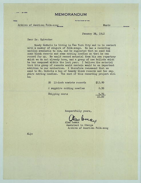 Memo from Alan Lomax to Harold Spivacke, January 20, 1942