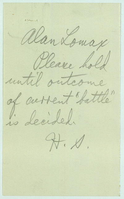 Memo from Alan Lomax to Harold Spivacke, January 26, 1942