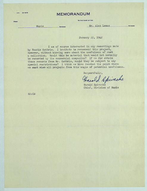 Memo from Harold Spivacke to Alan Lomax, January 22, 1942