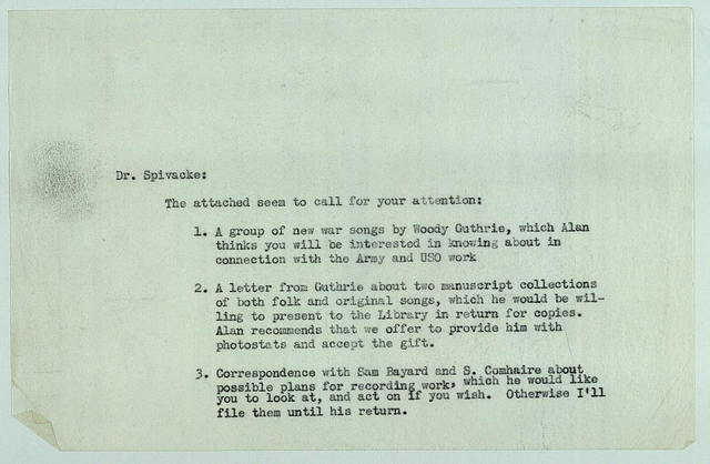 Memo to Harold Spivacke, ca. Summer 1942