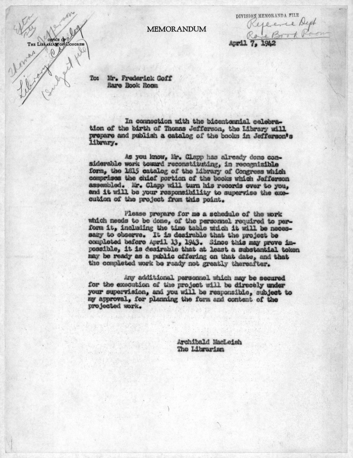 Memorandum from Archibald MacLeish to Frederick Goff, April 7, 1942