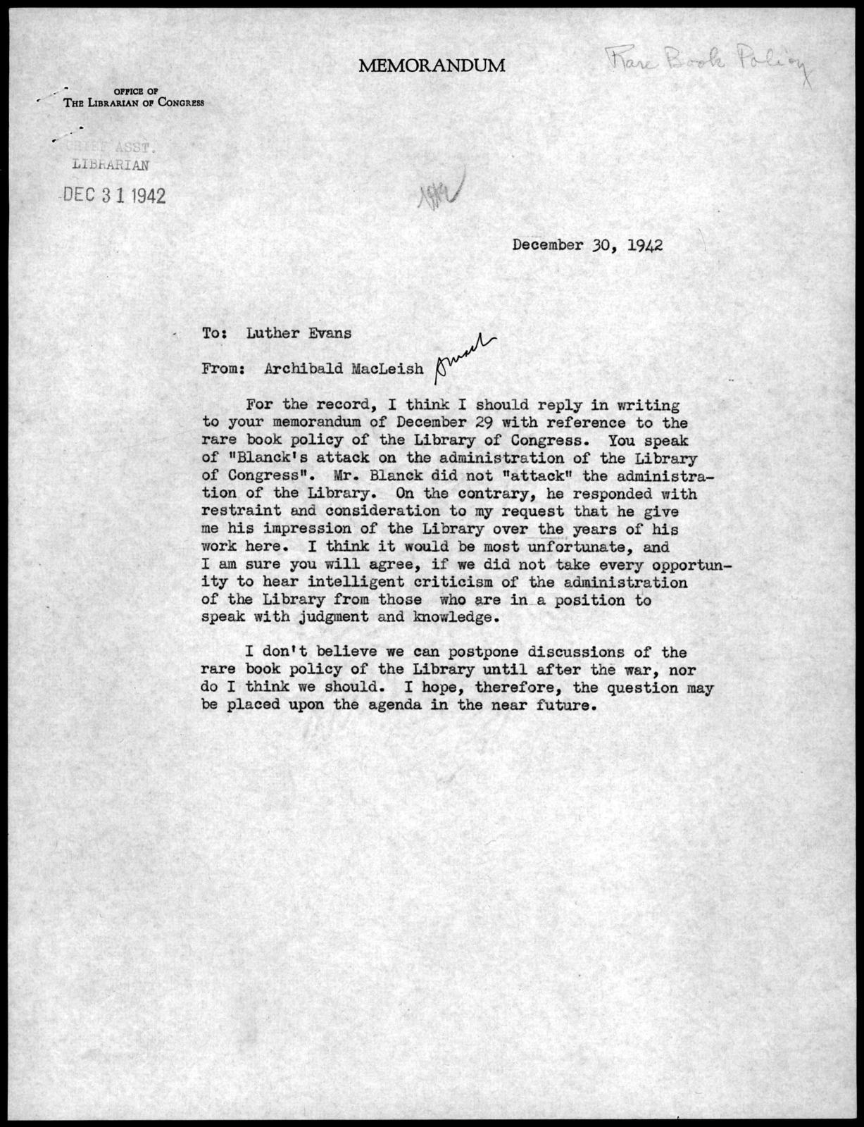 Memorandum from Archibald MacLeish to Luther Harris Evans, December 30, 1942