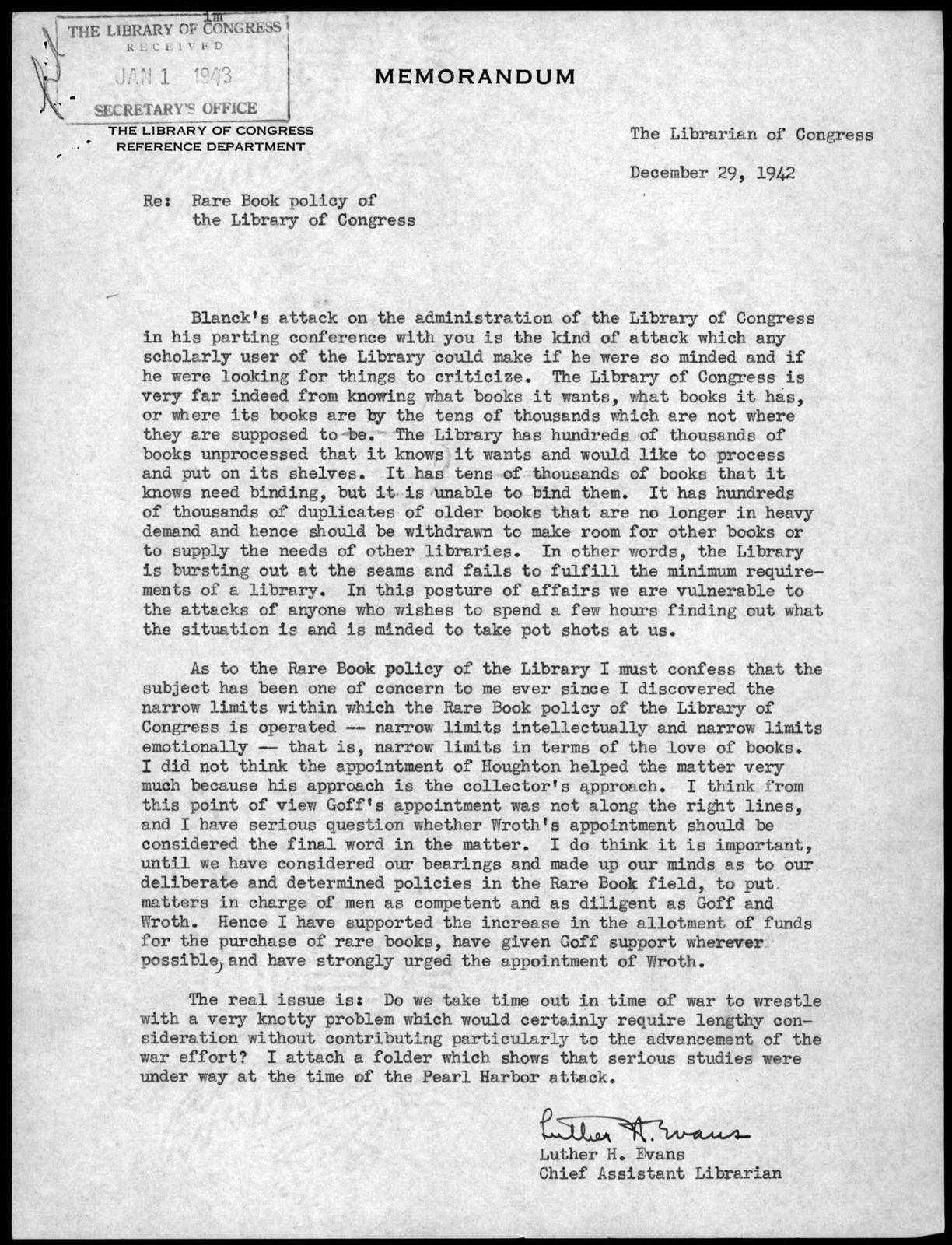 Memorandum from Luther Harris Evans to Archibald MacLeish, December 29, 1942