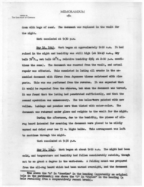 Memorandum from Verner W. Clapp to Archibald MacLeish, May 18, 1942