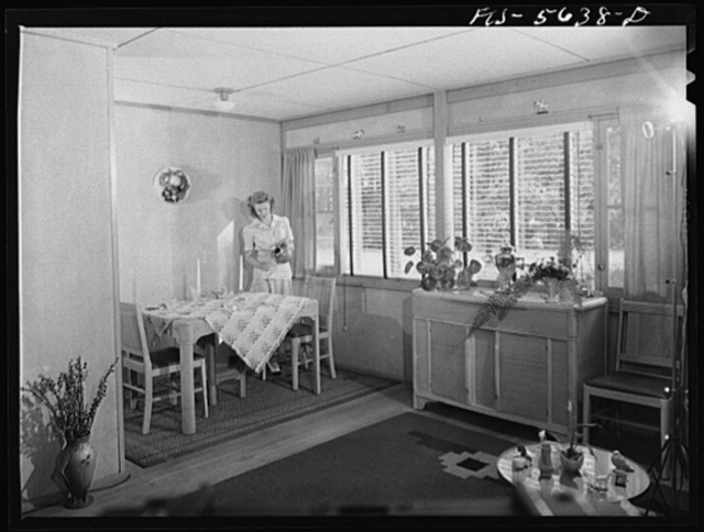 Middle River, Maryland. Housing development for workers at the Glenn L. Martin aircraft plant. Living room and dining alcove