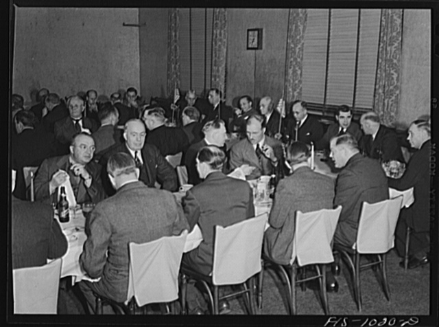 """Minneapolis, Minnesota. At a meeting of the Swedish Club, a businessmen's social organization. The club has been in existence for many years and in addition to having lectures and programs, it participates in various public campaigns. The meeting was held at the Saint Anthony Club and the speaker was Elmer Peterson, a radio commentator who spoke on """"Sweden's position in the present world crisis"""""""