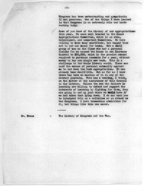 Minutes, Meeting of the Librarian's Advisory Council, May 30, 1942