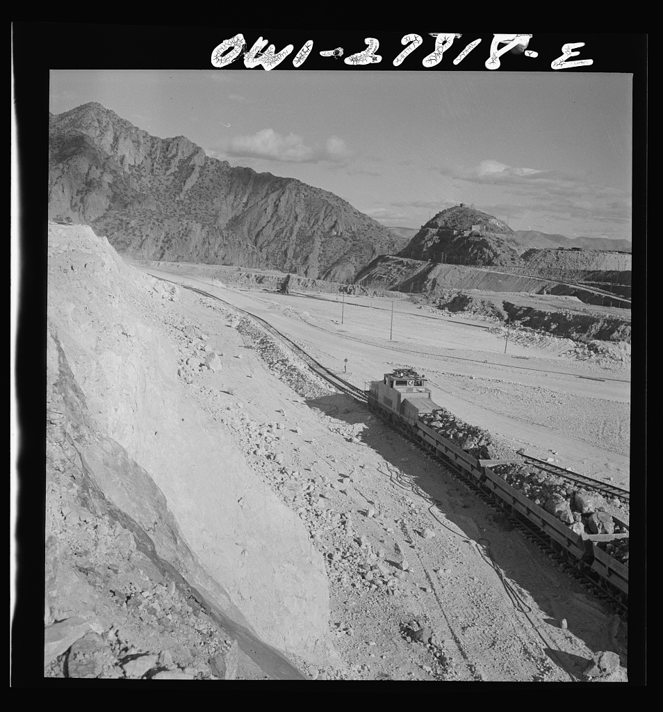 Morenci, Arizona. An ore train on its way to smelter from an open-pit cooper mine of the Phelps Dodge mining corporation