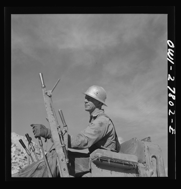 Morenci, Arizona. Bulldozer operator at an open-pit copper mine on the Phelps Dodge mining corporation